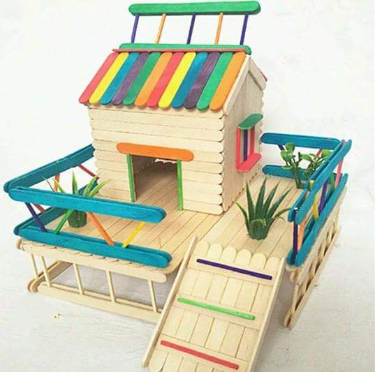 10 easy popsicle stick crafts ideas k4 craft for Best out of waste house