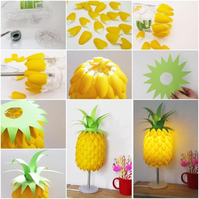 2 Plastic Spoon DIY Pineapple Lamp