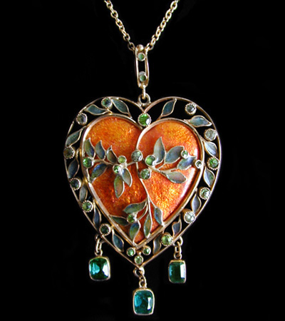 A Heart Shaped Gold Pendant Collection of Antique Jewellery by Famous Artists