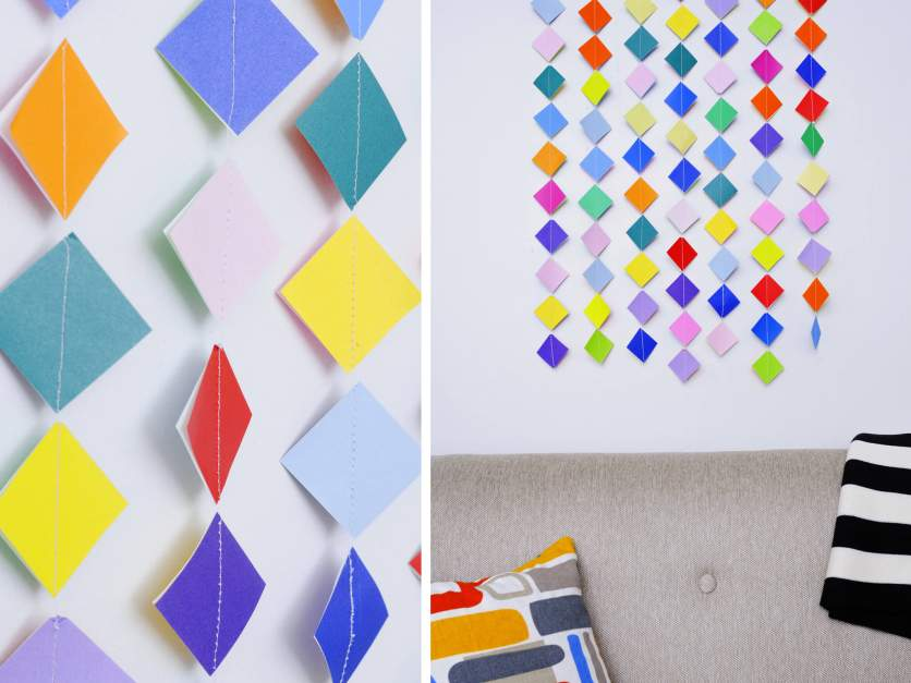 Colorful Garland Wall Art With Origami Paper