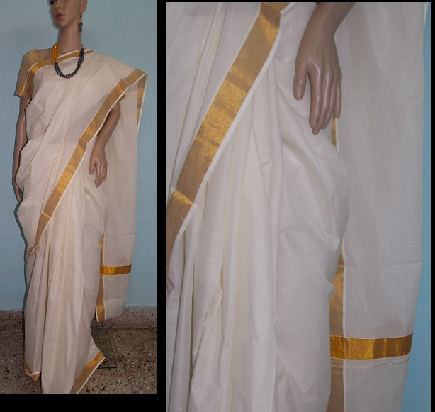 Plain Kerala Kasavu saree