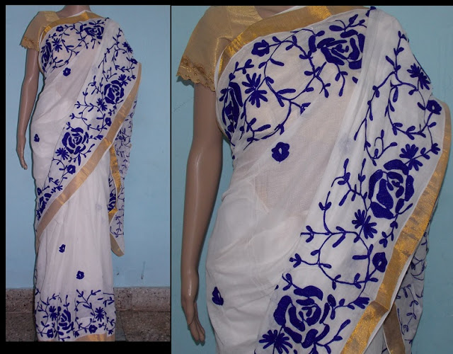Kerala Kasavu saree with embroidery