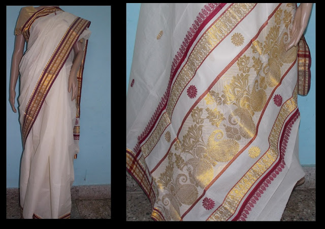 Kerala Kasavu saree with colored threads and motifs