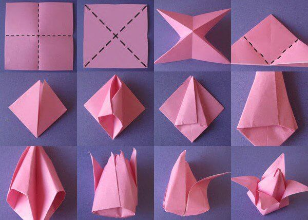 Diy origami flowers step by step tutorials k4 craft for How to make easy crafts step by step