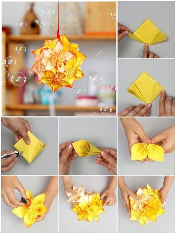 Diy origami flowers step by step tutorials k4 craft for Flower making at home