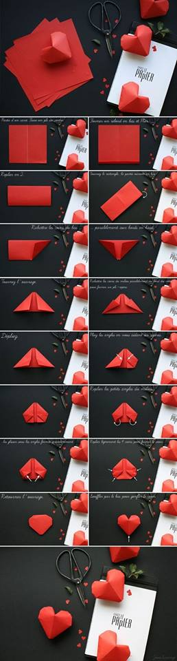 DIY Origami Paper 3D Heart Tutorial DIY Easy Origami Paper Craft Tutorials (Step by Step)