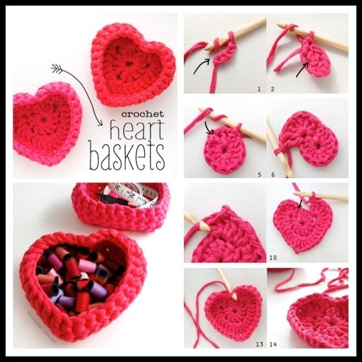 DIY Crochet heart shaped storage Baskets