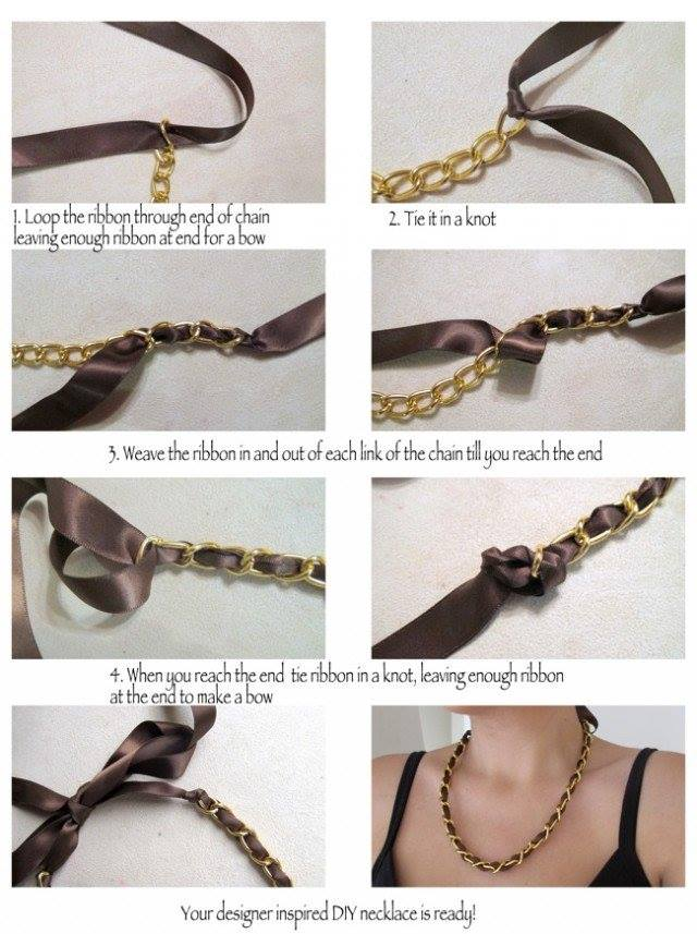 DIY-Designer-Inspired-Ribbon-And-Chain-Necklace