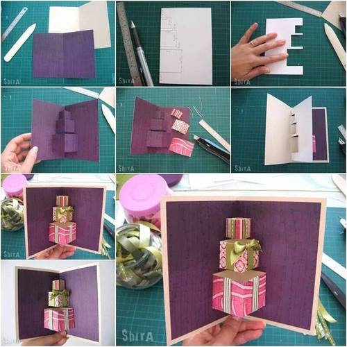 DIY 3D Gift Box Pop Up Birthday Card