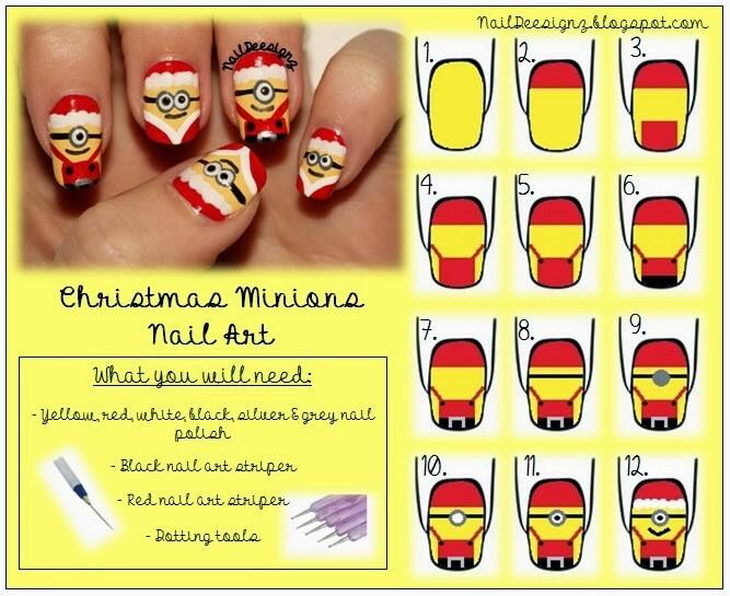 diy-christmas-minion-nail-art