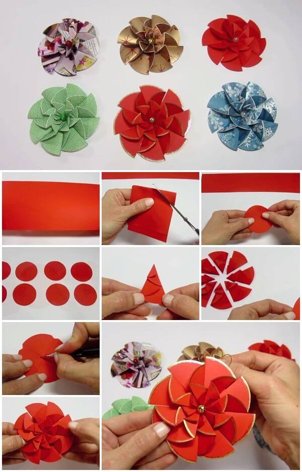 Diy paper flower step by step making tutorials k4 craft for How to make easy crafts step by step