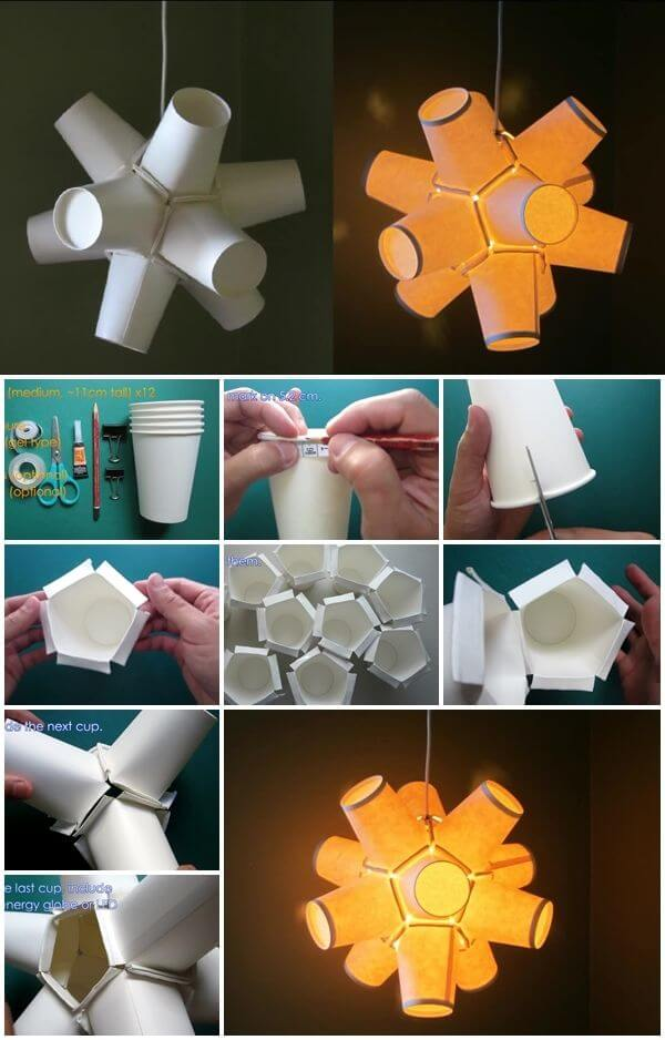 DIY How To Make Paper Cup Lamp Video Tutorial