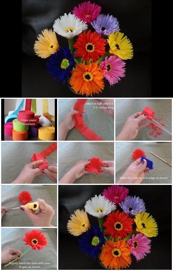 Diy paper flower step by step making tutorials k4 craft diy make paper flowers out of crepe streamers video tutorial mightylinksfo