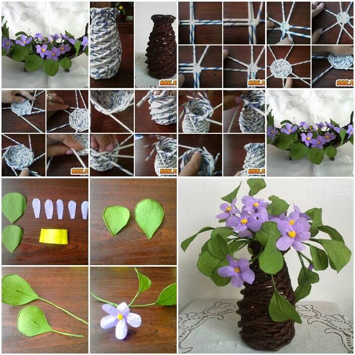 DIY flower pot from Newspaper