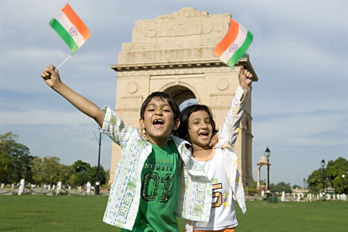 India Tri Color flag at india gate