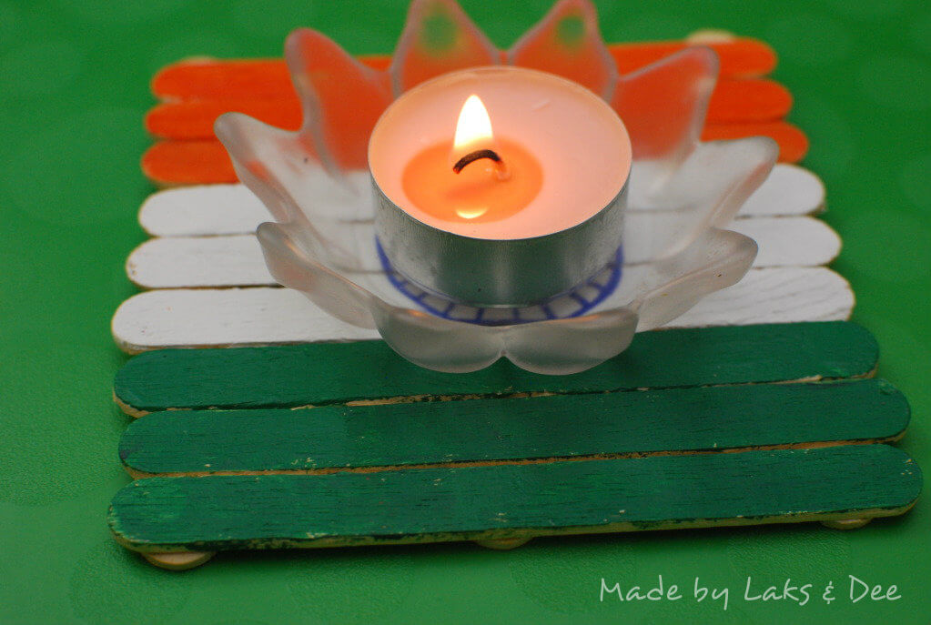 India Tri Color popsicle stick diya holder