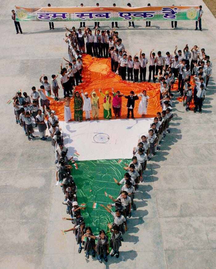School-Kids-Making-Indian-Map-Celebrating-Independence-Day-Of-India