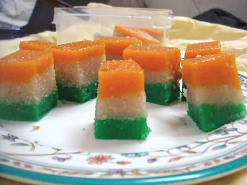 Tri-Color-Sweets-Decoration-On-Independence-Day-Of-Indai