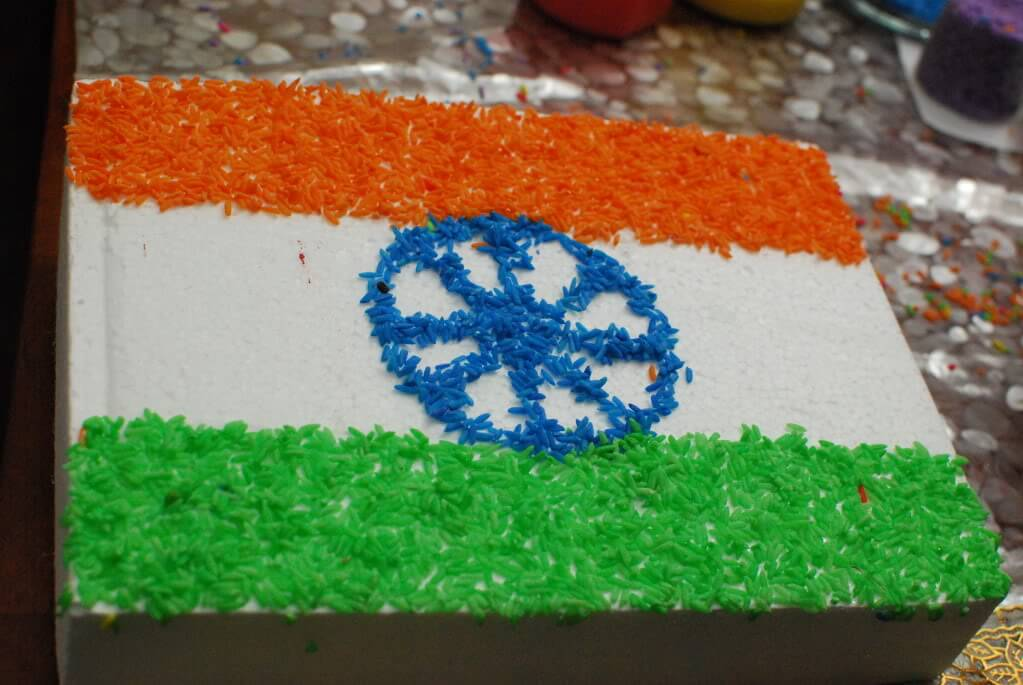 rice art of India Tri Color flag