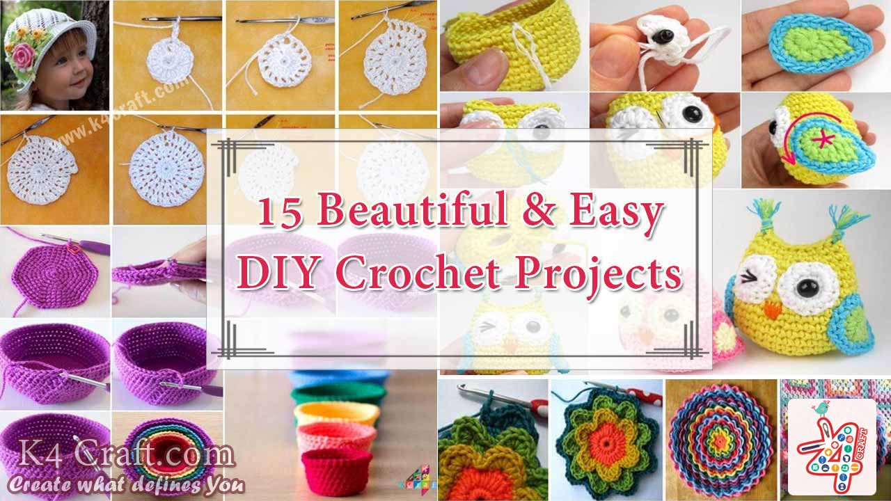 15 beautiful easy diy crochet projects for beginners for Diy crafts for beginners