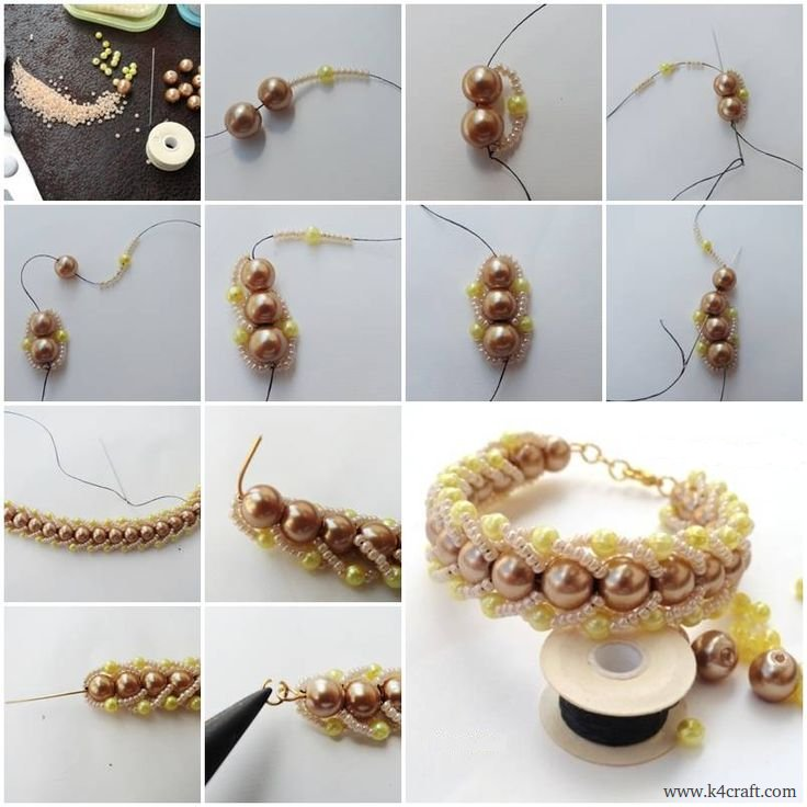Beads-and-pearls-Bracelet-making