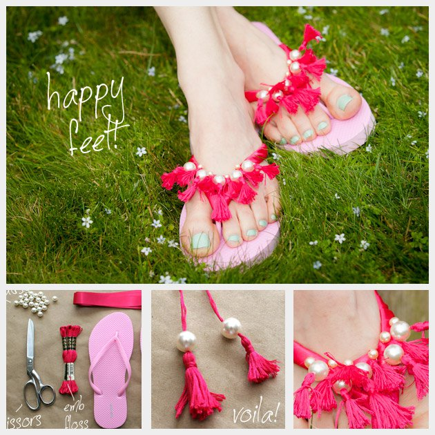 Beautiful-DIY-Pink-Slippers-with-Pearls-and-Fringes