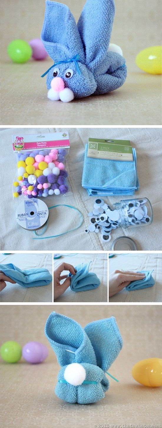 30 diy cute and creative easter crafts for kids k4 craft diy cute washcloth easter bunny negle Image collections