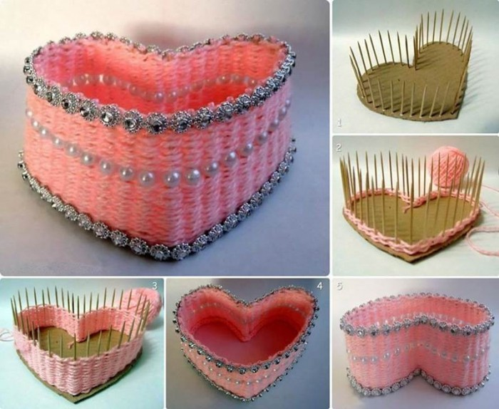 DIY Pretty Yarn Woven Heart Shaped Basket Step By