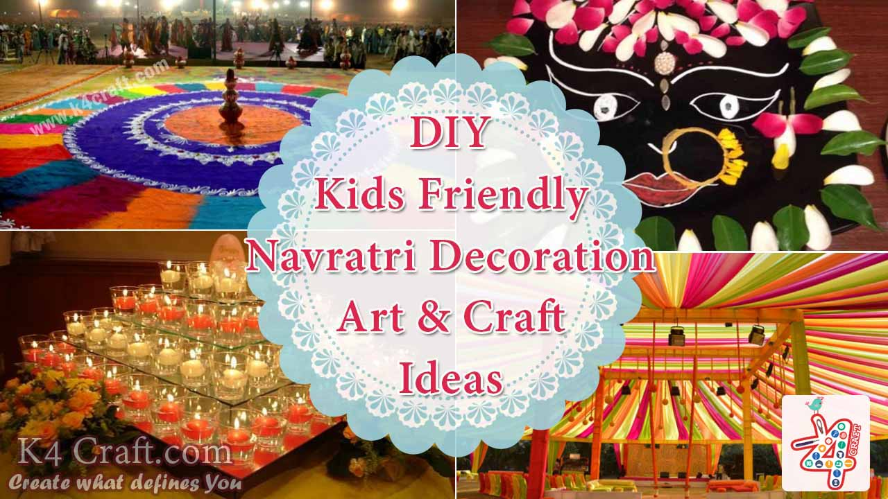 Diy kids friendly navratri decoration art craft ideas for Navratri decorations at home