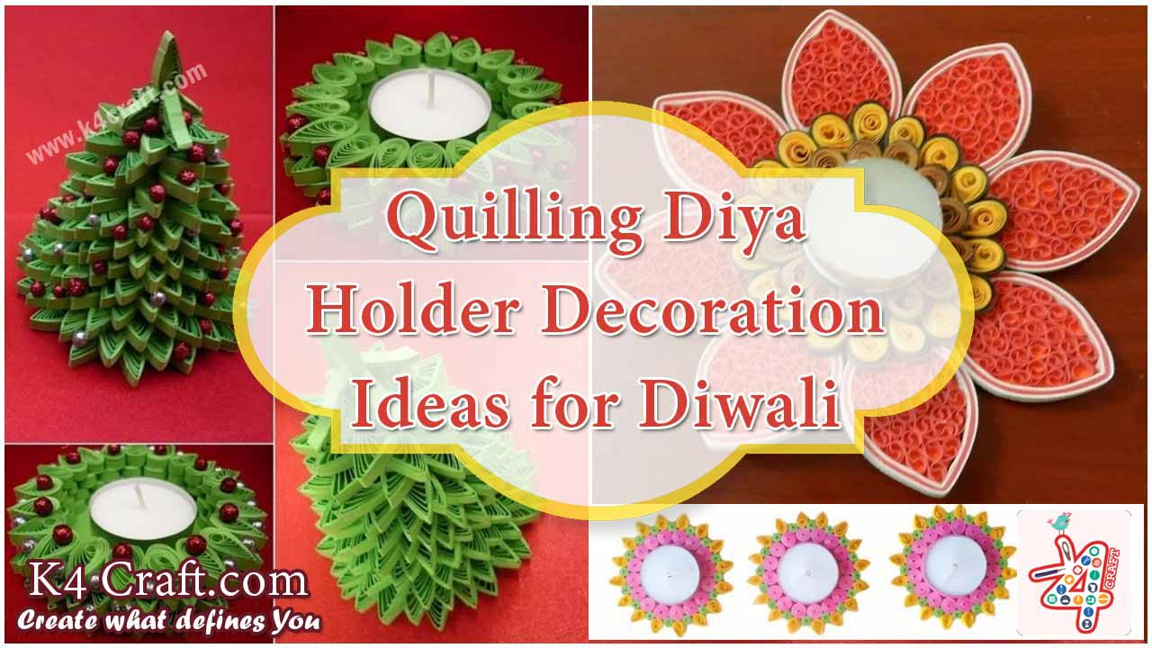 Quilling candle and diya stand decoration ideas for diwali for Diya decoration youtube