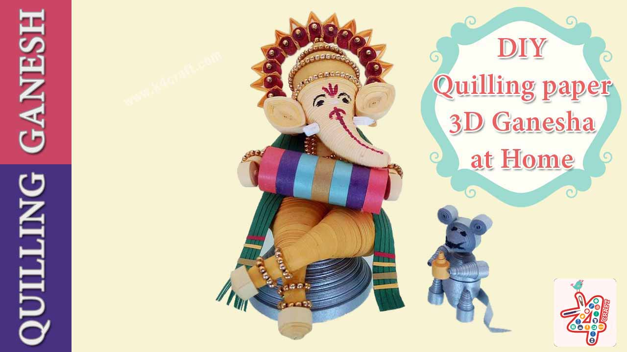 Unbelievable 3D Ganesha with PaperQuilling Easy Craft Ideas To Celebrate Ganesh Chaturthi with Kids