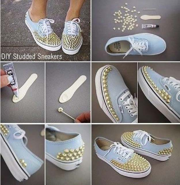 DIY Pearl Decorated Studded Sneakers Step By