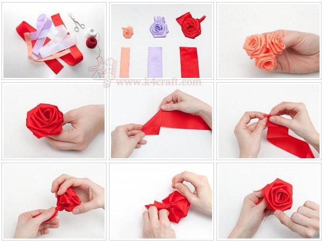 folded ribbon rose instructions