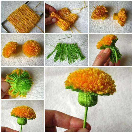 diy-yarn-yellow-flower-craft-k4craft