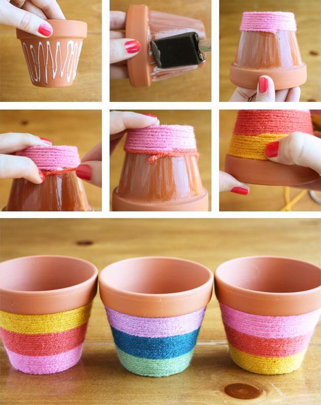 diya-yarn-decorated-flower-pot-k4craft