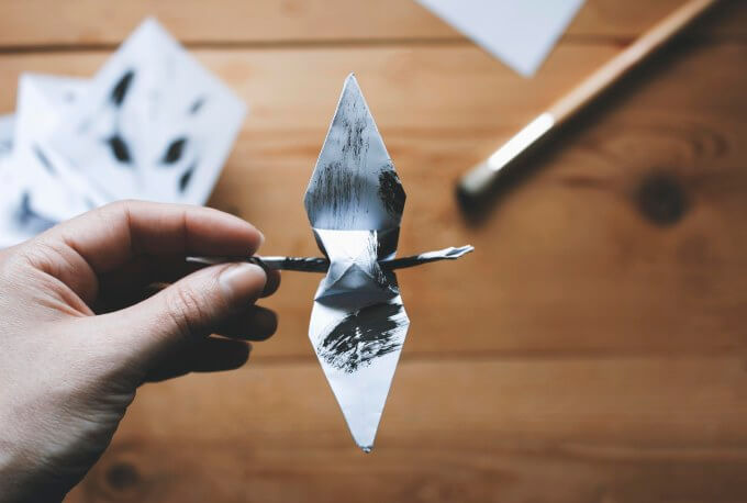 Origami-crane-and-twig-2