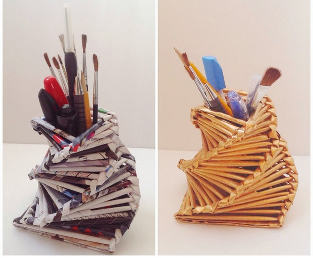 How To Make Gorgeous Pen Holder From Recycled Newspaper