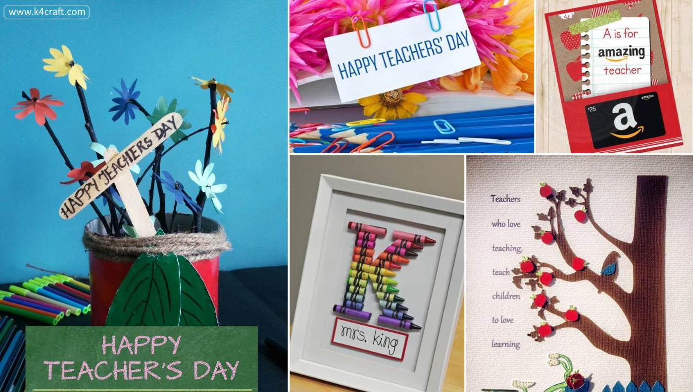 15 Awesome Teachers Day Gift Ideas With Thank You Cards K4 Craft