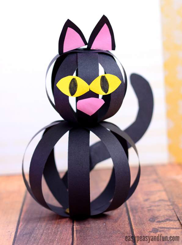 Halloween Cat Craft With Paper Strips K4 Craft