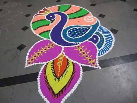 20 Beautiful Simple Peacock Rangoli Designs K4 Craft