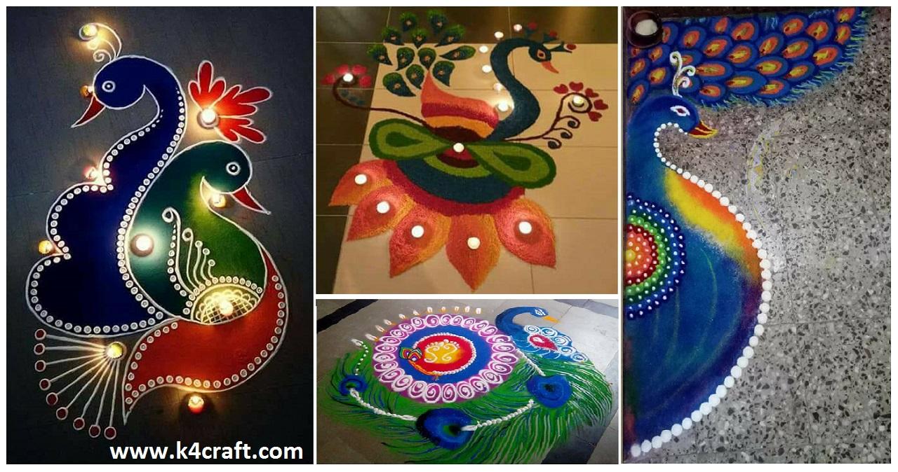 20 Beautiful Simple Peacock Rangoli Designs K4 Craft