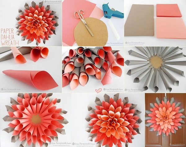 diy paper dahlia wreath k4 craft