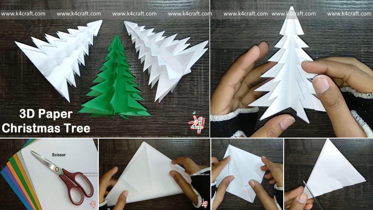 3d Paper Christmas Tree.Christmas Craft Diy How To Make 3d Paper Christmas Tree
