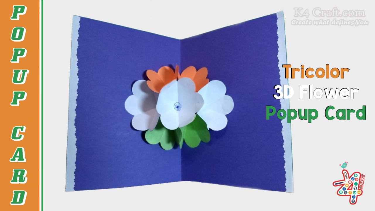 How To Make Tricolour Indian Flag 3d Flower Popup Card Tutorial