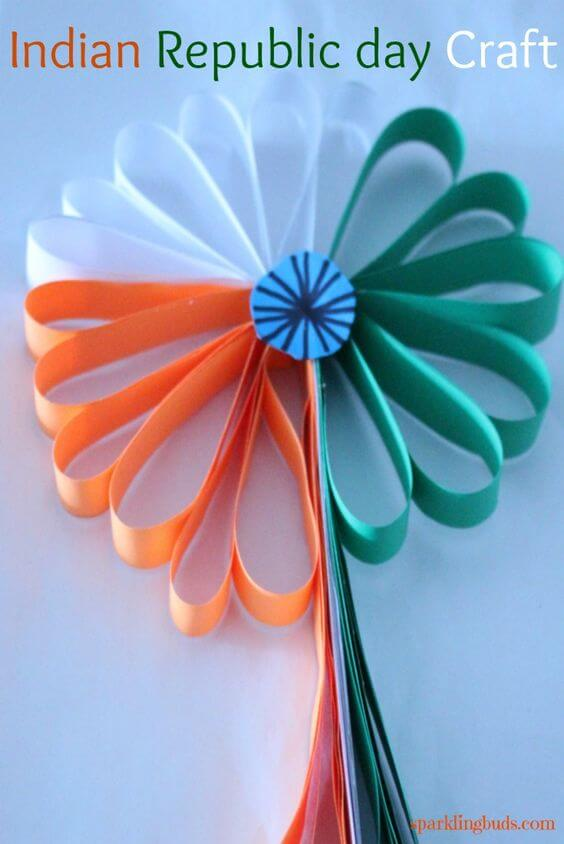 Tricolor Paper Flower For Republic Day Indian Craft Idea