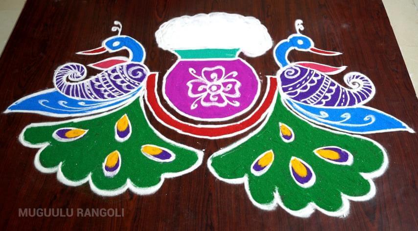 rangoli with pot pongal kolam 2020 dot pulli simple easy new traditional peacock special small tamil kolangal muggulu