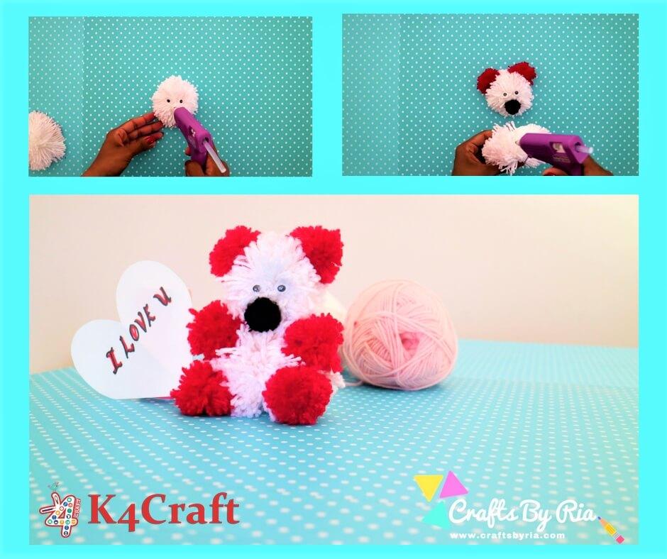 make your own teddy bear template - diy teddy bear craft how to make a pom pom teddy bear