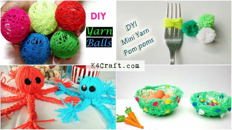Easy Yarn Craft Ideas For Kids K4 Craft
